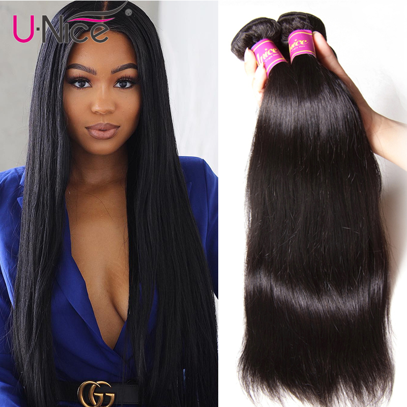 Unice Hair 3 Bundles Malaysian Straight Hair Natural Color Remy Hair Weaves 100% Human Hair Bundles 8-30inch Free Shipping