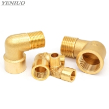 1/8 1/4 3/8 1/2 3/4 1 Female x Male Thread 90 Deg Brass Elbow Pipe Fitting Connector Coupler For Water Fuel Copper adapter