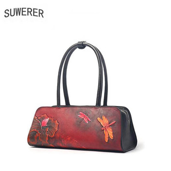 SUWERER 2020 New Women Genuine Leather bags luxury handbags women bag designer Cowhide Embossed bag women leather shoulder bag