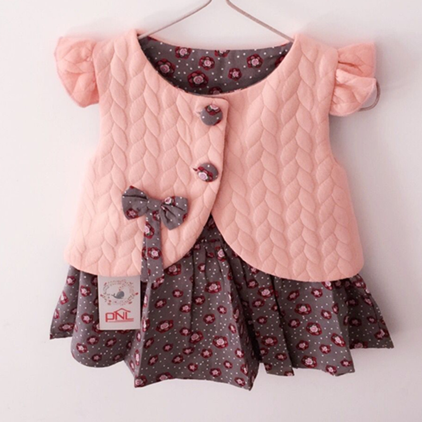 New 2016 Spring Baby Girl Cotton Dresses Sleeveless Beautiful Flower Baby Kids Clothing Free Shipping