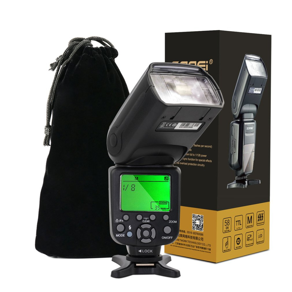 Professional Zomei ZM-860T Speedlight Flash LCD Display High Speed Sync TTL Flash Speedlite For Canon For Nikon DSLR Cameras dx world triopo tr 988 professional speedlite ttl camera flash with high speed sync for canon and nikon digital slr cameras