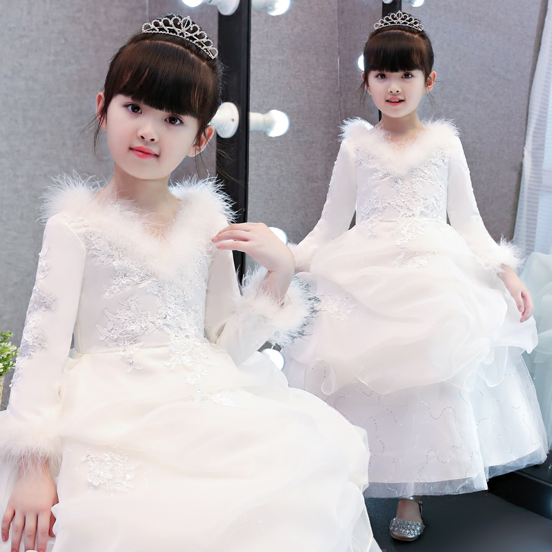 Children Kids Elegant White Princess New Year Ball Gown Lace Dress Girls Birthday Wedding Party Dress Piano Performance Clothes