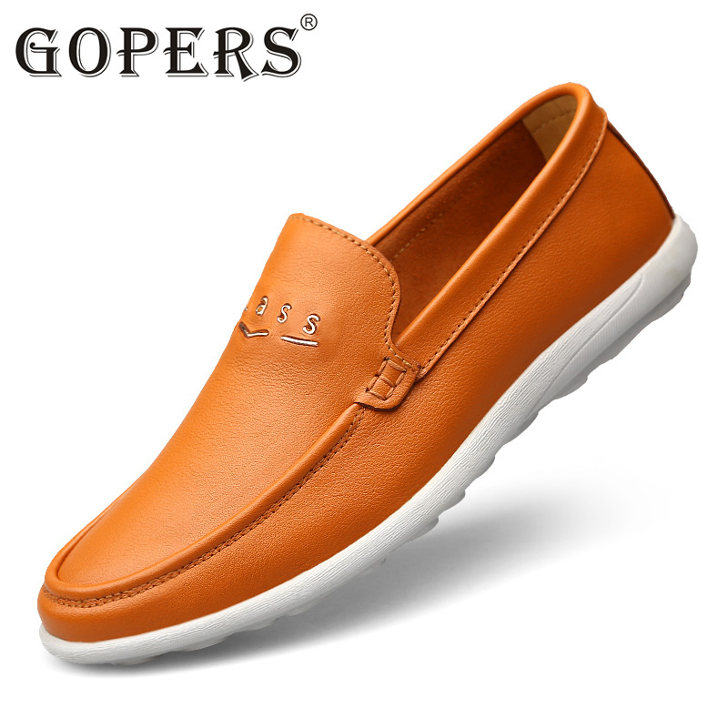 GOPERS  Brand Fashion Summer Style Soft Moccasins Men Loafers High Quality Genuine Leather Shoes Men Flats Gommino Driving Shoes new style comfortable casual shoes men genuine leather shoes non slip flats handmade oxfords soft loafers luxury brand moccasins