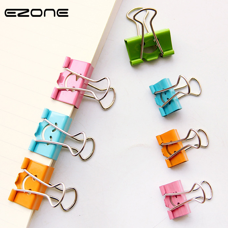 EZONE 10 pcs/lot Sweet Candy Color Smile Face Metal Binder Clips Notes Letter Paper Clip School Office Supplies Student Gifts