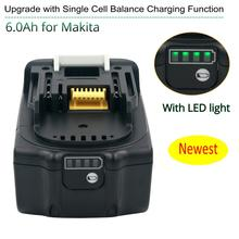 Latest Upgraded BL1860 Rechargeable Battery 18 V 6000mAh Lithium ion for Makita 18v Battery
