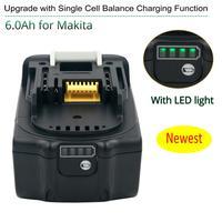 Последняя Обновленная BL1860 аккумуляторная батарея 18В 6000 мАч литий-ионный аккумулятор для Makita 18В BL1840 BL1850 BL1830 BL1860B LXT 400