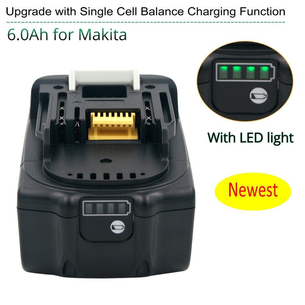 Latest Upgraded BL1860 Rechargeable Battery 18 V 6000mAh Lithium Ion For Makita 18v Battery BL1840 BL1850 BL1830 BL1860B LXT 400