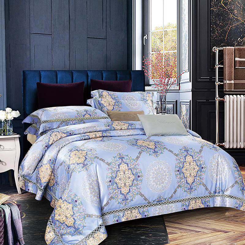 Luxury Boho Bedding Set for palace Quilt Cover Blue Jacquard  Bedsheet duvet cover queen 4Pcs New Arrivals