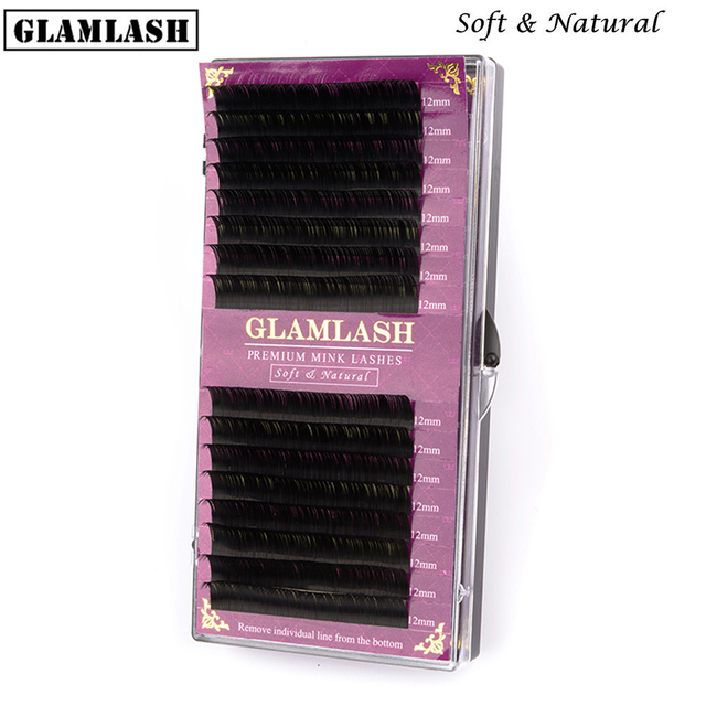 GLAMLASH 16Rows premium sable false natural matte black eyelash extension wholesale eye lashes extension cilia makeup cilios
