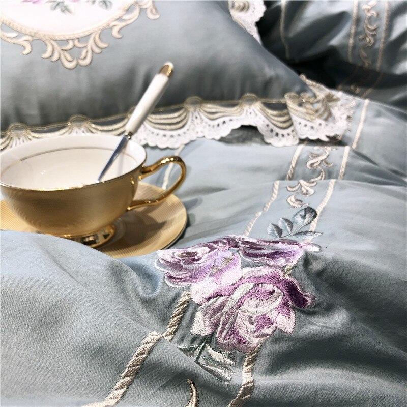 라이트 블루 핑크 럭셔리 유럽 목가적 인 자수 이집트 면화 침구 세트 이불 커버 침대 시트 베개 케이스 퀸 킹 사이즈-에서침구 세트부터 홈 & 가든 의  그룹 3