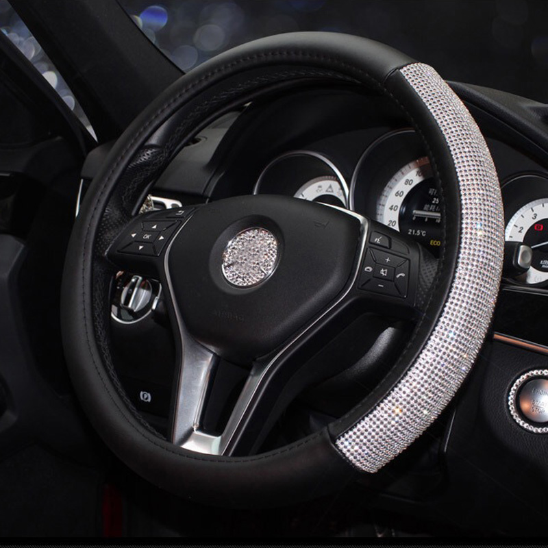 Diamond Leather Steering Wheel Cover Crystal Rhinestones Car Steering-wheel Covers for Women Girls Auto Interior Accessories