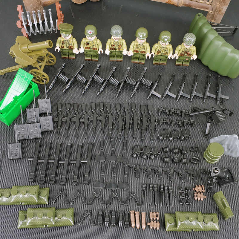 jungle Military set Special Forces Soldiers Bricks Figures Guns Weapons Compatible Legoings Armed SWAT Building Blocks Ww2 Toys