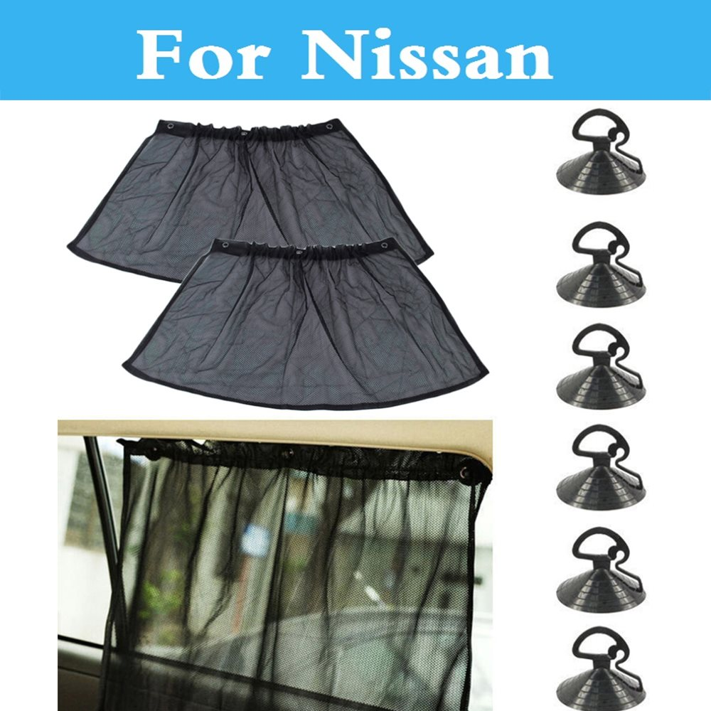 2Pcs Suction Cup Black Mesh Window Curtains Car SunShade For Nissan Bluebird Sylphy Cedric Cima Crew Dualis ExpeGloria GT-R Juke