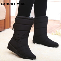Winter Women Boots Female Down Waterproof Snow Boots Tassel Mid Calf Ladies Shoes Woman Warm Fur