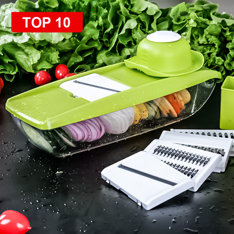 Vegetable Cutter Box Adjustable Mandoline Slicer with 4 Interchangeable Stainless Steel Blades Peeler Slicer Grater BOX