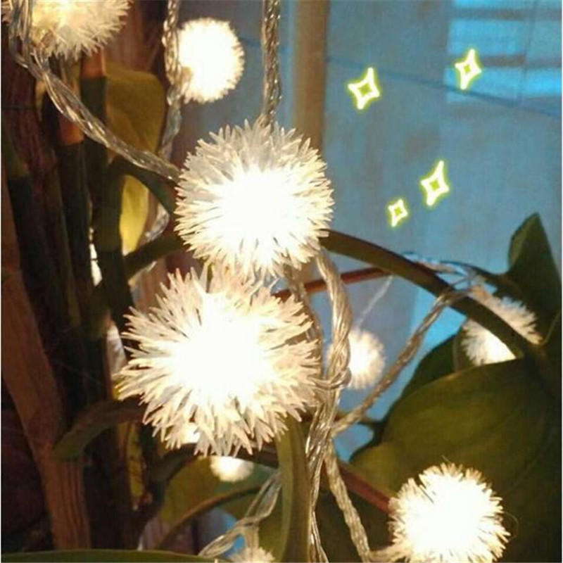 Battery 1.5/3M LED Furry Snow Ball Led String Lights Fairy Light For Garden Home Decor Wedding Party Garland Decorations