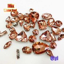 Sell at a loss! 50pcs/bag high quality mixed shape water red glass sew on claw rhinestones,diy clothing accessories SWM12