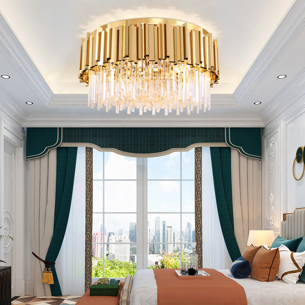 Round Gold Crystal Chandelier For Ceiling Luxury Modern Bedroom