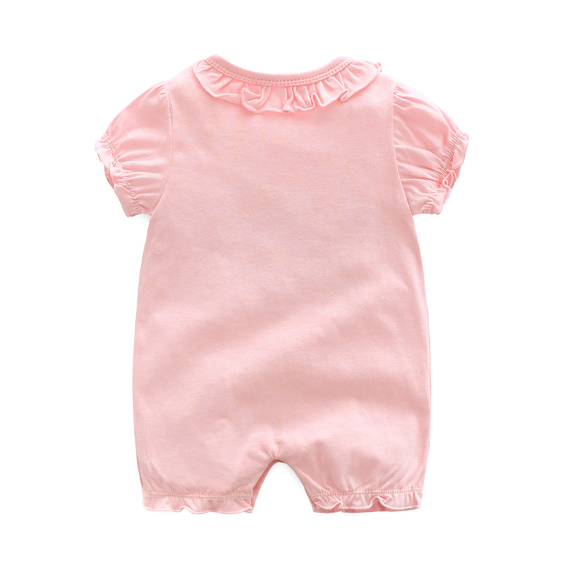 Lace Collar Newborn Baby Girl Clothes Short Sleeve Infant Toddler Girls Letter Summer Baby Rompers Clothing