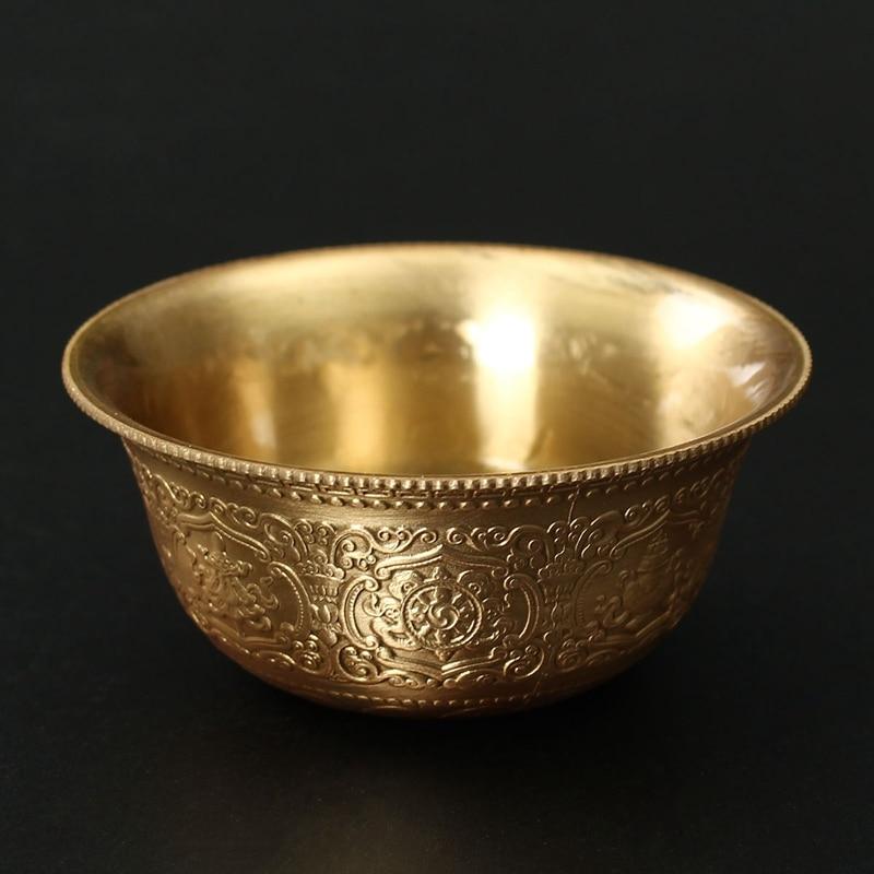TNUKK KiWarm Retro CopperBowl Tibet Tibetan <font><b>Buddha</b></font> Bowls Buddhist Offering WaterBowl <font><b>Cup</b></font> BuddhaSound Bowl Hom DecorCraftsGift