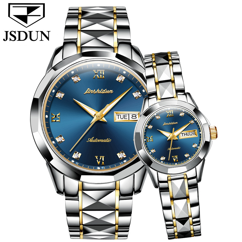 Couple Mechanical Watch Automatic Wristwatch JSDUN Luxury Brand Love's watches Water Resistant Auto Date  Female Steel watches tevise fashion auto date automatic self wind watches stainless steel luxury gold black watch men mechanical t629a with tool