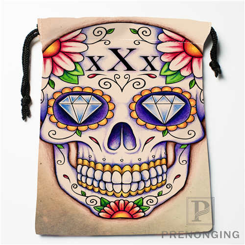 Custom Flower Skull@01 Drawstring Bags Printing Fashion Travel Storage Mini Pouch Swim Hiking Toy Bag Size 18x22cm #171208-09