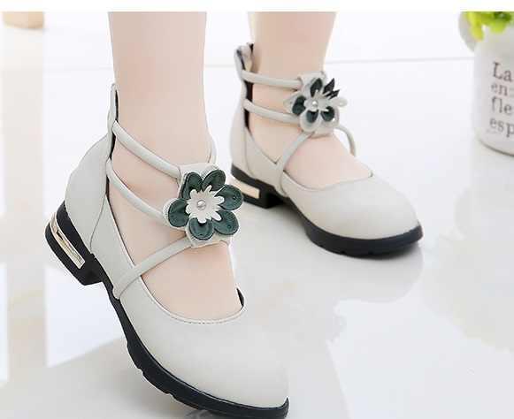 2018HOT çiçek çocuk prenses ayakkabı kızlar Sequins kızlar düğün parti çocuk elbise ayakkabı kızlar için pembe/gül kırmızı/altın ayakkabı