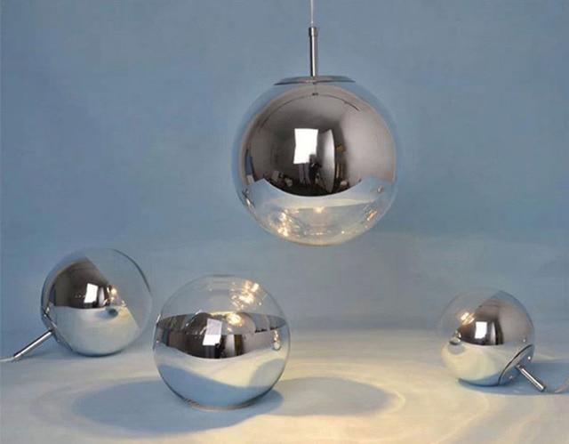 Modern Chrome Mirror Ball Pendant Lights Glass Bubble Ball Lamp ...