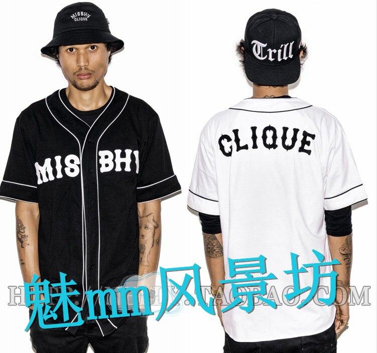 Misbhv été nouvelle côte ouest hip-hop à manches courtes chemise robe à la mode baseball uniforme de baseball
