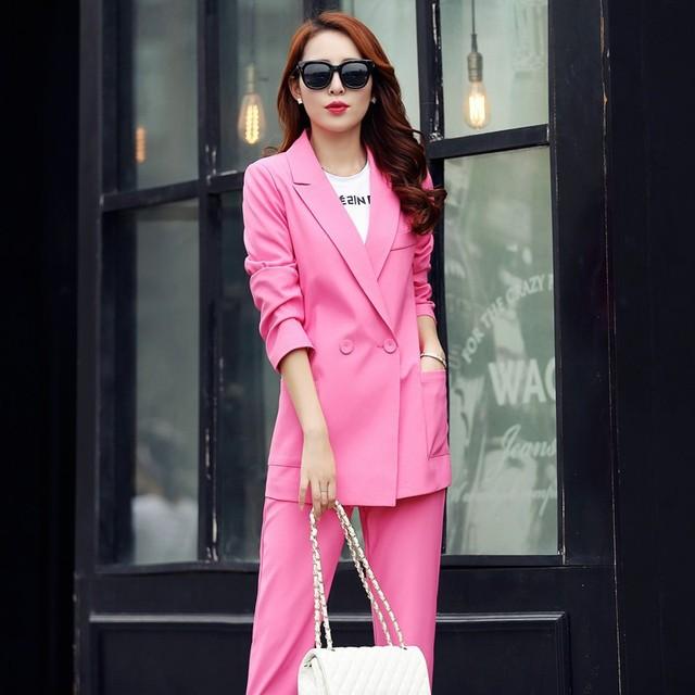 Novo Estilo Primavera Outono Mulheres Calças Ternos Candy Cor Blazers Ternos Blazer Jaquetas Longo Outerwear Moda Feminina das Mulheres