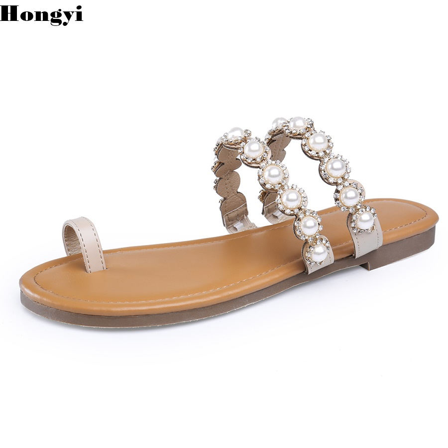 Women Slippers Summer Beach Slippers Flip Flops Sandals Women Diamond Pearl Fashion Slippers Ladies Flats Shoes Free shipping free shipping candy color women garden shoes breathable women beach shoes hsa21