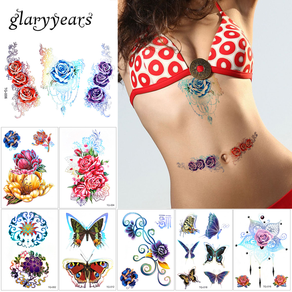 glaryyears 5 Pieces/set Laser Flower Body Tattoo Temporary Stikcer Waterproof Decal TG for Women Girl Jewelry Tattoo DIY Wedding