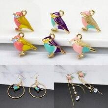10pcs/lot Cute 3D Little Sparrow Pendant Alloy Enamel Birds Charm DIY Jewelry Accessories Bracelet Handmade Fitting Craft YZ347