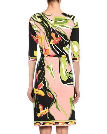 الحضرية النساء أزياء جديد شحن حزام جميلة طباعة جولة طوق الحرير جيرسي تمتد اللباس-في فساتين من ملابس نسائية على  مجموعة 3