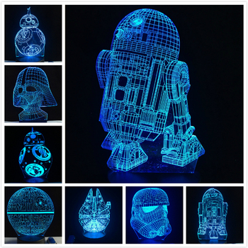 Lampe 3D Mort Star War R2D2 BB-8 Darth Vader Stormtrooper Chevalier LED