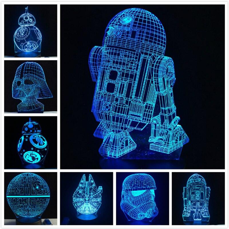 2018 NOVA 3D Lâmpada Morte Guerra Estrela R2D2 Darth BB-8 Vader Stormtrooper Cavaleiro LED Tabela NIGHT LIGHT Multicolor Dos Desenhos Animados Brinquedo Luminaria