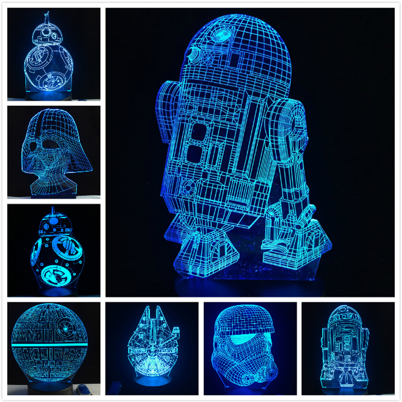 2018 nuevo 3D lámpara de la estrella de la muerte de la guerra R2D2 BB-8 Darth Vader Stormtrooper Caballero LED noche de la tabla luz Multicolor juguete de dibujos animados Luminaria