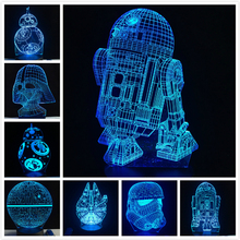 2019 NEW 3D Lamp Death Star War R2D2 BB-8 Darth Vader Stormtrooper Knight LED Table NIGHT LIGHT Multicolor Cartoon Toy Luminaria