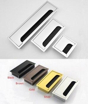 Premintehdw สแควร์สี่เหลี่ยมผืนผ้าอลูมิเนียมตารางสำนักงาน Desktop PC ตู้ลวดสายเคเบิล Flap แปรง Grommet ฝาครอบสี...