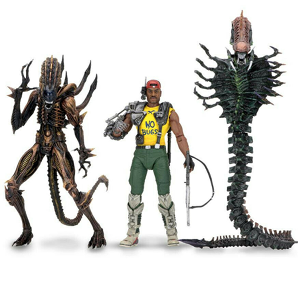7inch 18cm NECA Series 13 <font><b>Aliens</b></font> VS Predator Scorpion Snake <font><b>Alien</b></font> Sgt Apone Kenner Action Figure Toy image