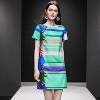 2019 summer new women's high end dress flower stripe printed silk satin dress
