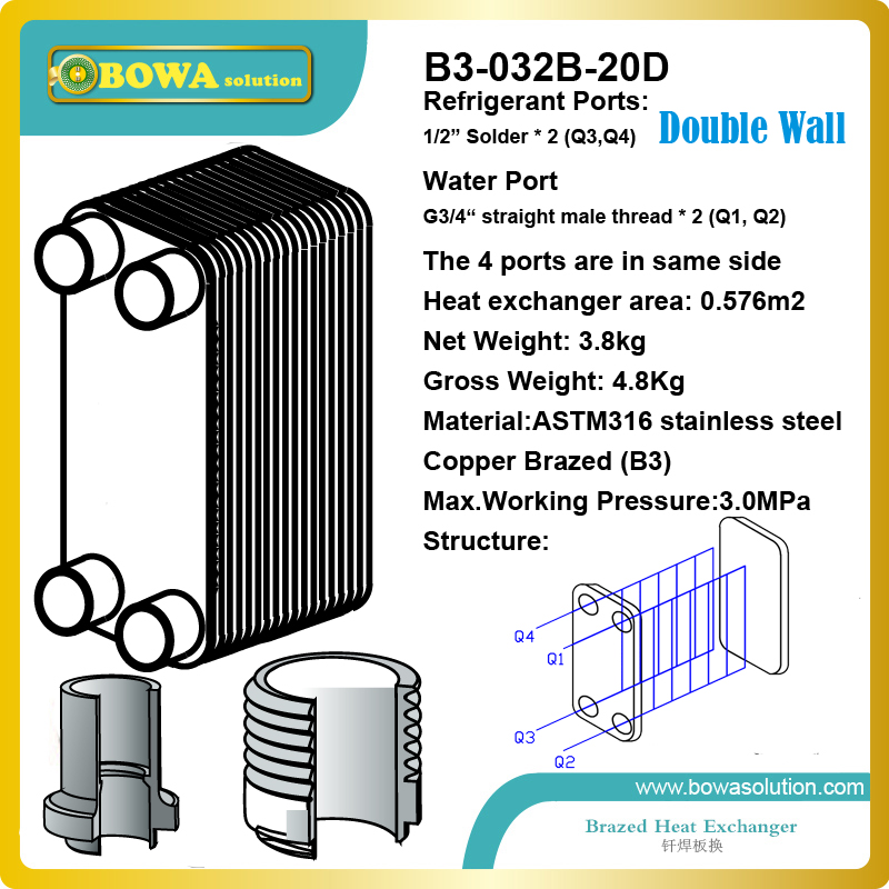 3.5KW Double Wall Brazed Plate Heat Exchangers with visual leak detection for air source Heat pump Domestic water heating 11kw heating capacity r410a to water and 4 5mpa working pressure plate heat exchanger is used in r410a heat pump air conditioner