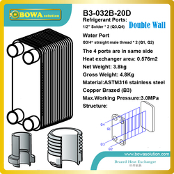 3.5KW Double Wall Brazed Plate Heat Exchangers with visual leak detection for air source Heat pump Domestic water heating