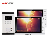 New Apartment 9 Color Screen Video Intercom Door Phone System 2 Monitors + 1 Doorbell Camera for 2 house Family FREE SHIPPING