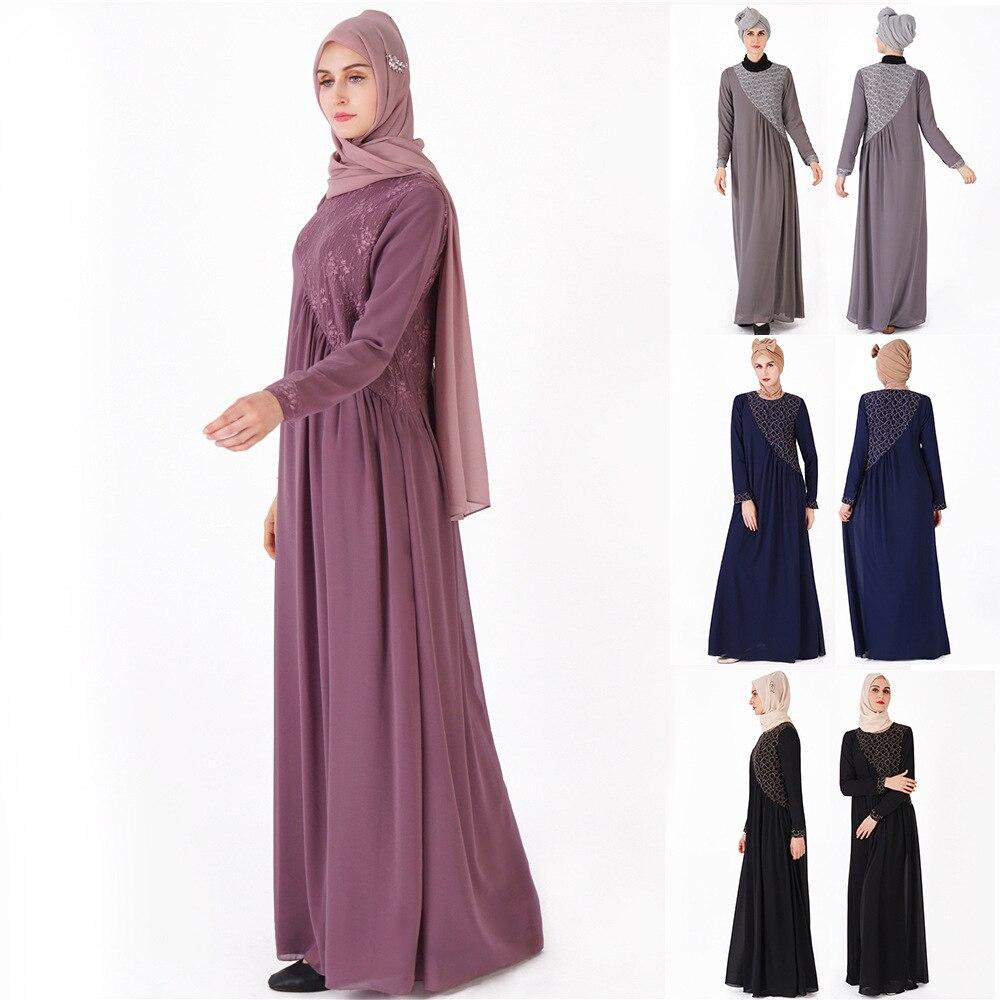 Мусульманские одежды Для женщин длинное платье газовое кружевное