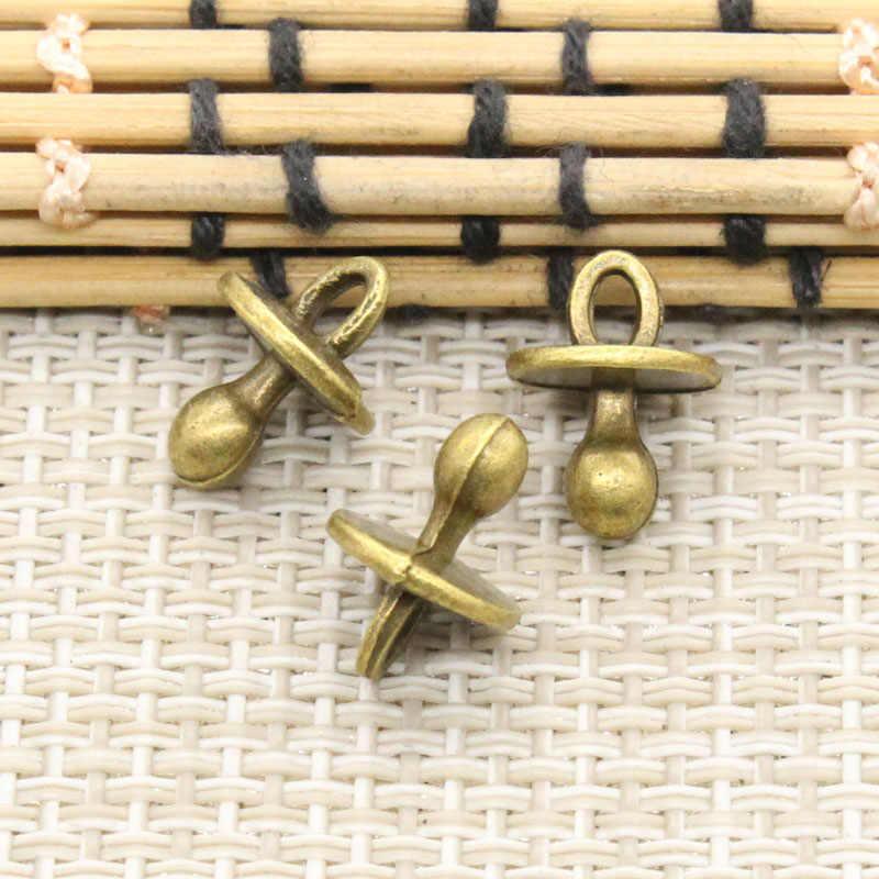 10 pçs encantos bebê chupeta binky mordedor 13x10x10mm tibetano prata cor pingentes antigo jóias fazendo diy artesanal ofício