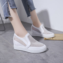 Summer 2019 New Women Shoes Wedges Mesh Increased Internal Fashion Crystal Shoes Woman Casual Slip-On Breathable Ladies Shoes women s casual shoes 2019 foreign gas spring and summer breathable mesh red wild wedges with increased shoes