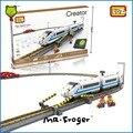 Mr. froger serie del bloque de diamante loz alta velocidad de pista de tren eléctrico bloques de construcción de ladrillos de juguete juguetes clásicos niños creador regalo