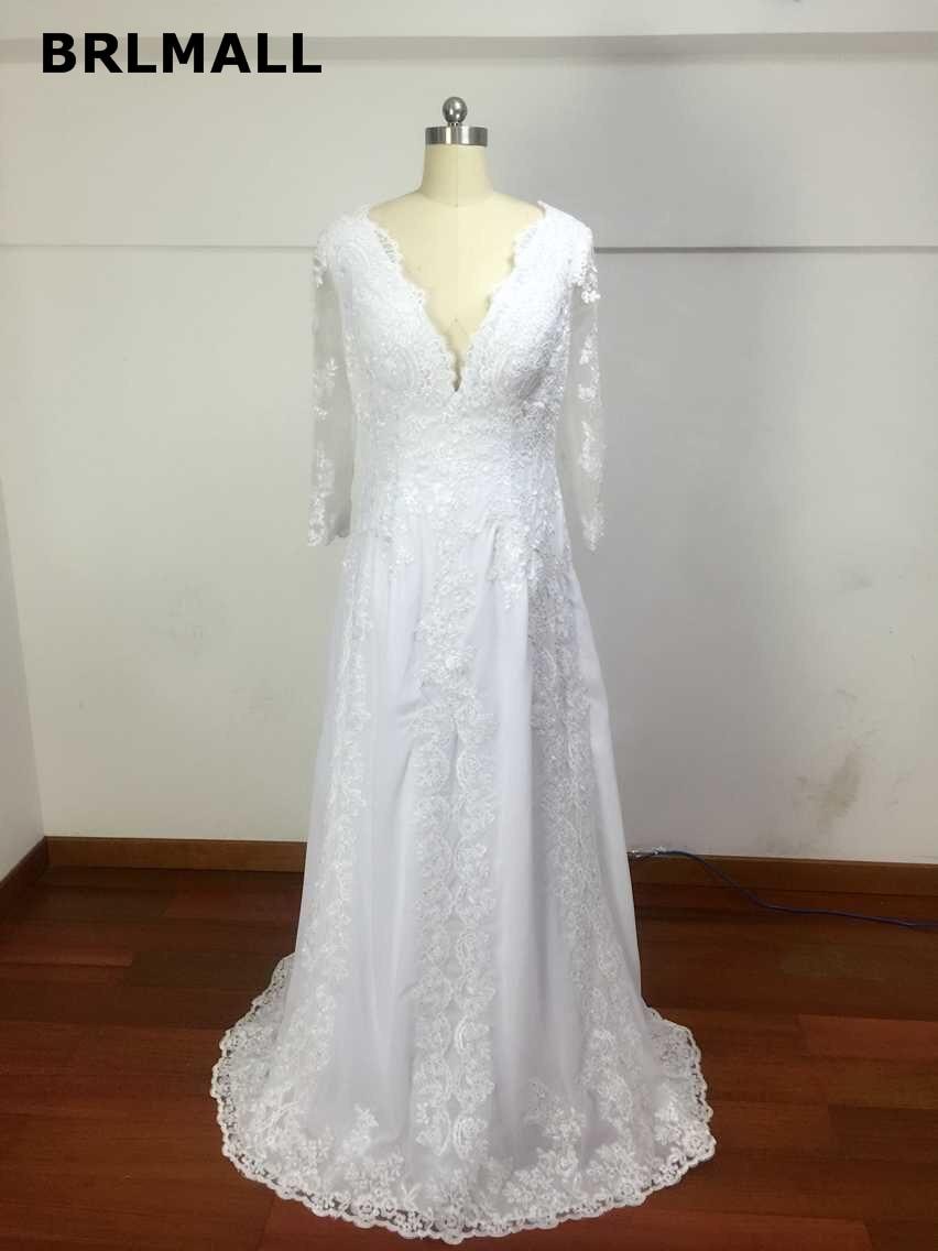 Modest 2017 Sheer Backless A Line Wedding Dresses Deep V Neck Top ...