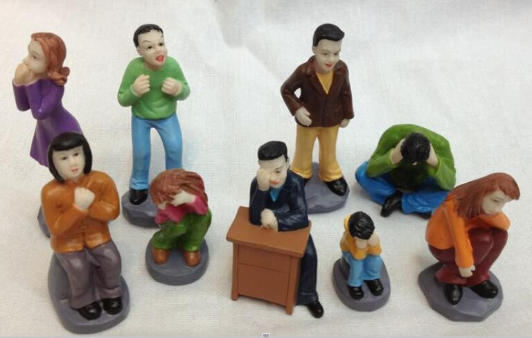 Mental sand sandbox game with Sandplay psychological product class character of Expression characters 8pcs/set image